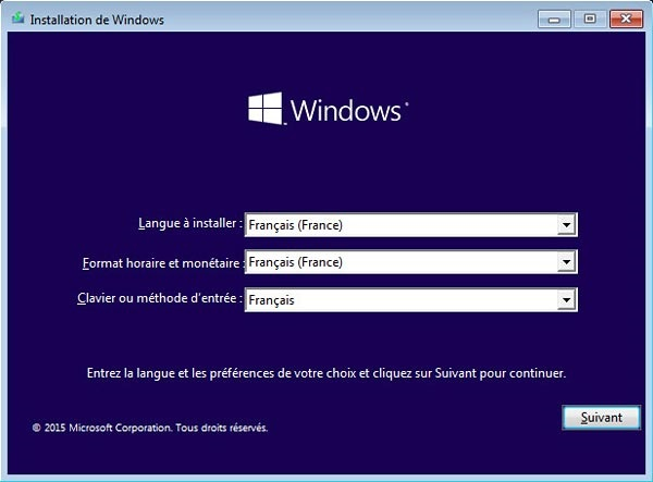 install-w10-langue